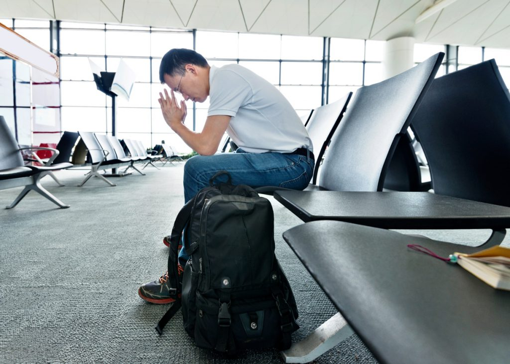 Frustrated airline passenger.