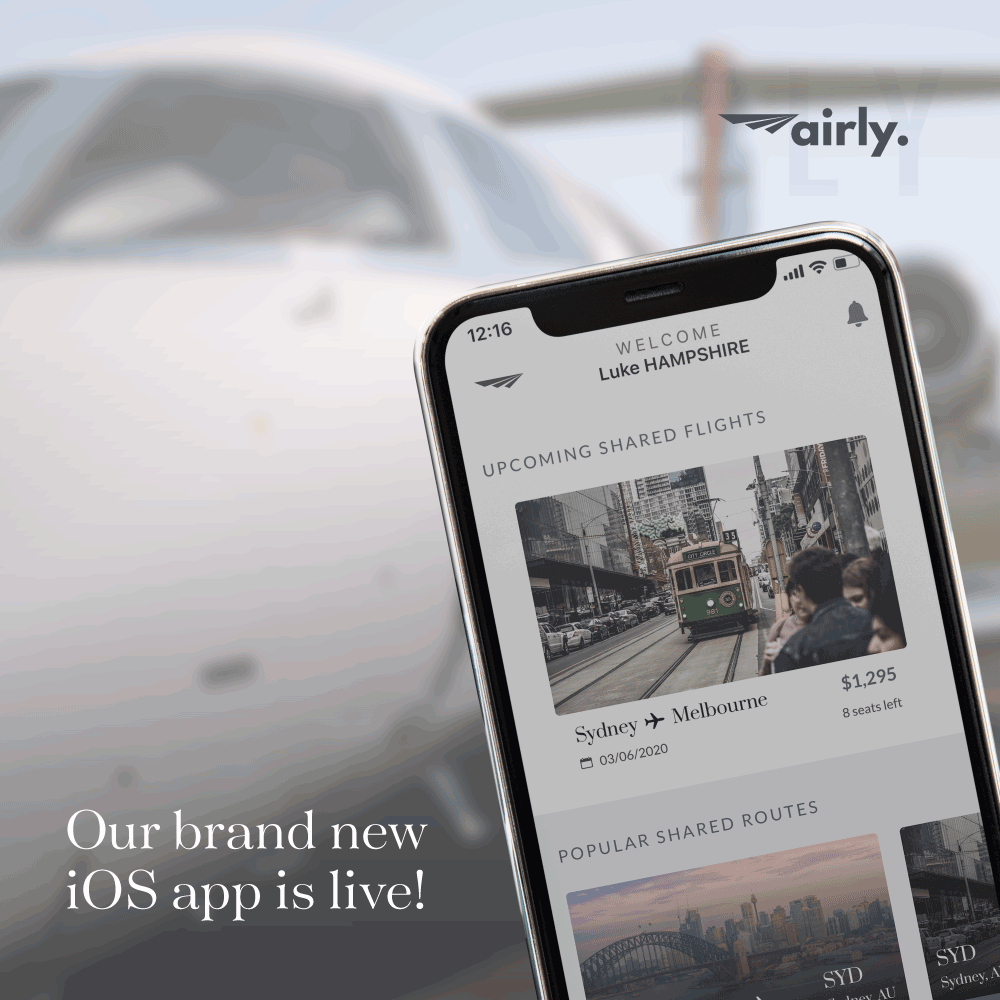 Airly private jet app